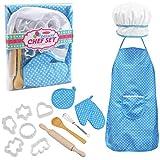 NATUCE Küchenspielzeug für Kinder, 13 STK Koch und Backset, Kochset mit Kinderschürzen, Kochmütze, Kochen Mitt und Ausstechformen, Spielzeug Set, Geschenk für Mädchen Weihnachten Geburtstag, Blau