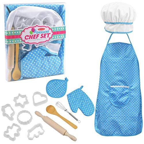 NATUCE Juguetes de Cocina, 13 Pz Juego de Cocina y Horneado para Niños, Ropa de Chef Infantil, Delantales para Niños, Juego Cocina Regalo, Azul
