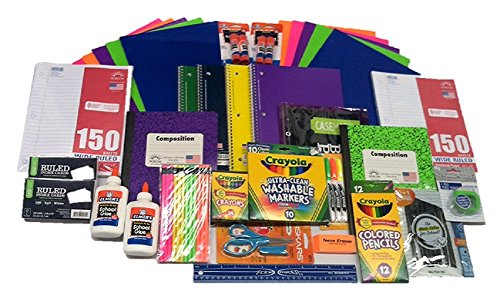 Ultimate Back To School Supplies Bundle-Paper, Pens, Markers, Crayons, Folders, Scissors, Glue, Ruler, Pencil Sharpener etc.
