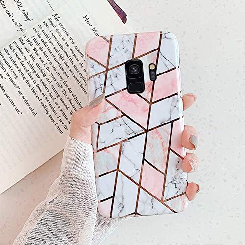 Surakey Coque Galaxy S9 Coque Géométrique Marbre Motif Ultra Fine Souple TPU Silicone Gel Case Cover Housse Étui de Protection Anti-Rayures Antichoc Bumper Case pour Galaxy S9, E