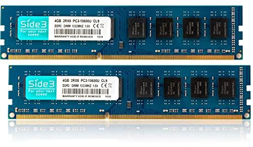 Side3 デスクトップPC用メモリ DDR3-1333 PC3-10600 Hynixチップ搭載 DUALメモリー (4GB×2)