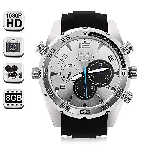 1080P HD Espía Reloj Cámara Mini Vídeo Grabadora Apoyo Toma de Fotos y Grabación de Voz, Memoria Incorporada de 16GB