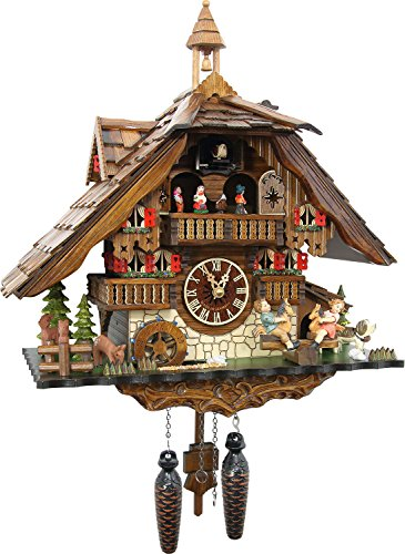 Cuckoo-Palace Large German Cuckoo Clock - The Seesaw Mill Chalet with Quartz Movement ââ'¬â€œ with Moving Seesaw - Black Forest Clock