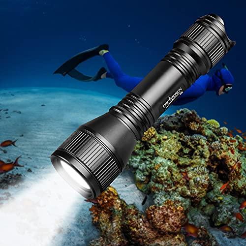 ORCATORCH Linterna de Buceo LED D550, 1000 Lúmenes Luz de Buceo Recargable, Resistencia al agua IPX8 Antorcha de Buceo con 2 X 18650 Batería
