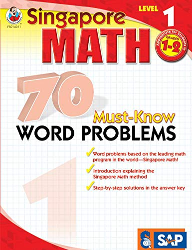 Singapore Math – 70 Must-Know Word Problems Workbook for 1st, 2nd Grade Math, Paperback, Ages 6–8 with Answer Key
