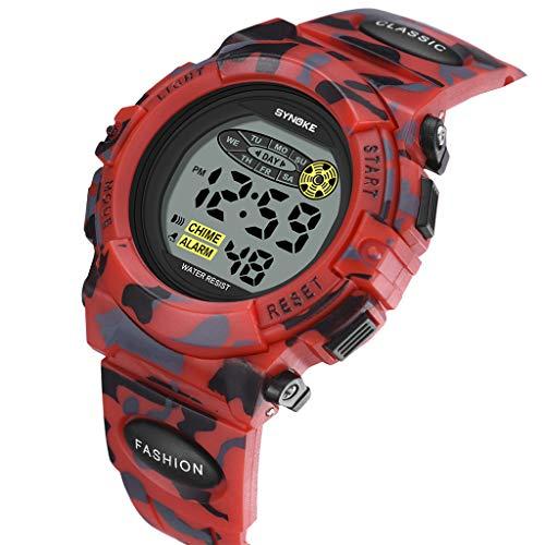 SYNOKE Relojes digitales para niños, jóvenes, deportivos, militares, con alarma, temporizador, reloj de camuflaje portátil para adolescentes, chicos y hombres Rojo camuflaje.