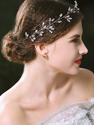 Yean Silver Bride Wedding Headband Leaf Bridal Hair Vine Accessories Headpiece for Women and Girls
