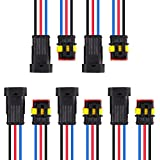MUYI 5 Kit 3 Pin Way 18 AWG Waterproof Connector Wire 1.5mm Series Terminal Connector Plug Black