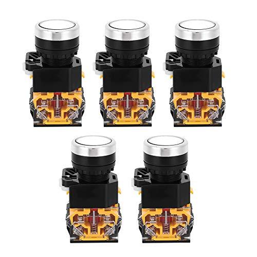 5 uds botón pulsador de emergencia 22mm 37V-440V interruptor de botón de plástico interruptor de botón de reinicio automático sin luz(blanco)