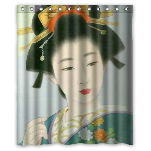 WWWVIOUY Home Decoration Bathroom Shower Curtain Japanese Geisha Girl Waterproof Fabric Shower Curtain 60(w) x72(h) Inch