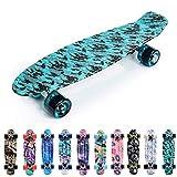 meteor Skateboard Plastic Cruiser Ridge Mini Skate 22'/56cm Planche a roulettes Vintage Complet (Bleu/Noir)