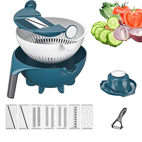 FENGLI Vegetable Slicer, 9 in 1 Multifunction Vegetable Cutter Kitchen Vegetable Chopper Portable Kitchen Tool with Drain Basket - Best Veggie Cheese Shredder Grater Set with Fruit Peeler