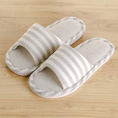 SWX-FlipFlop Zapatillas de casa Ropa de Cama para Hombres japoneses Pareja de Verano Mujeres Embarazadas de Suela Gruesa Tela Antideslizante otoño e Invierno Beige Blanco 38/39 (código Positivo)