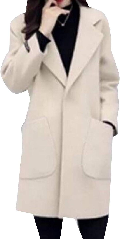 Abetteric Women Wool Blended Lapel Overcoat Pocket Baggy Style Parka Outwear