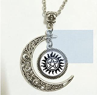 Charm Crescent Moon Supernatural Anti-possession Symbol Silver Pendant Necklace