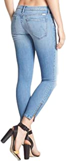 MOTHER Looker Ankle Zip Crop Faded Mid-Rise Skinny Blue Jeans – Light Kitty -30