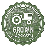 Grown Locally Tractor House Farm Rubber Stamp Sticker Decal Design - Sticker Graphic - Auto, Wall, Laptop, Cell, Truck Sticker for Windows, Cars, Trucks