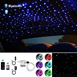 AKEPO 10W Car Home Use APP+Twinkle+Music Fiber Optic Lights kit for Star Ceiling Sky Light, RGBW Light Engine + Optical Fiber Cable 150pcs 0.03in/0.75mm 6.5ft/2m + 28key RF Remote Control