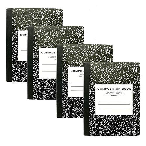 Emraw Composition Book Office Dairy Note Books 100 Sheet Wide Ruled Paper Meeting Notebook Journals Hard Cover Black Marble - Pack of 4 Writing Book for School