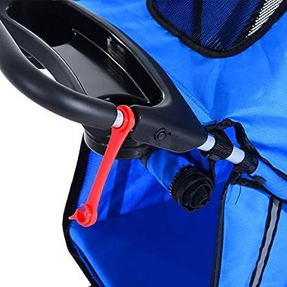 PawHut Pet Travel Stroller Cat Dog Pushchair Trolley Puppy Jogger Carrier Three Wheels (Blue) 7