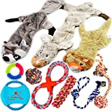 Lobeve Dog Toys Gift Set,Variety No Stuffing Squeaky Plush Dog Toy and Cotton Rope Puppy Toys Bundle for Medium to Small Doggie