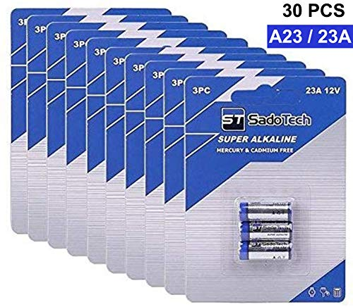 A23 Battery for Household Electronics Garage Door Opener and Official A23 Battery Replacement for SadoTech Doorbell Battery and Accessories, Long Lasting, 10 Pack (30 Batteries)