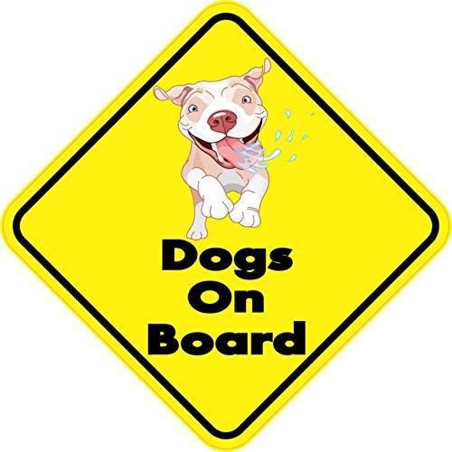 PotteLove 7in x 7in Dogs On Board Magnet for Envelope Laptop Fridge Guitar Car Motorcycle Helmet Luggage Cases Decor