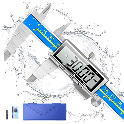 Digital Caliper, Qfun Electronic Vernier Caliper Extreme Accuracy IP54 Waterproof Stainless Steel Micrometer Measuring Tool with LCD Screen, Inch/Metric Conversion for Industrial/Home Measurement