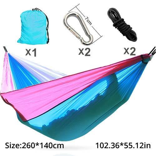 Bureze Double Personne Hamac Parachute Portable Camping Intérieur Home Garden Couchage Hamac Lit 300 kg Max Chargement