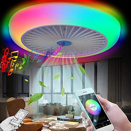 VOMI LED Fan Deckenleuchte RGB Farbwechsler Dimmbar mit Fernbedienung/APP, Musik Deckenlampe mit Ventilator & Bluetooth Lautsprecher, Schlafzimmer Leise Invisible Deckenventilator mit Beleuchtung