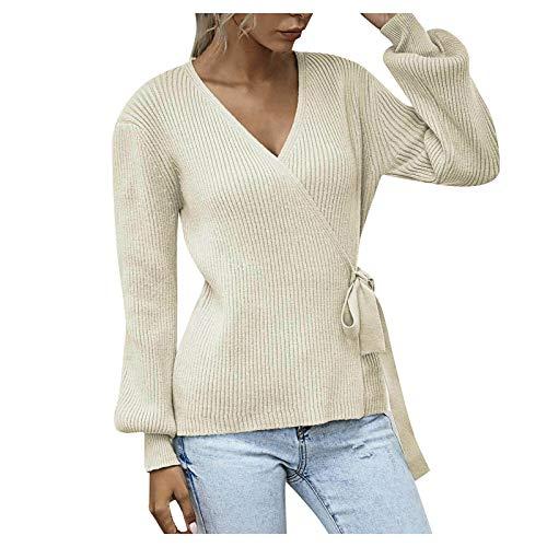 Tops de Punto con Cuello en V para Mujer Casual Manga Larga Pullover Suéter Color sólido Blusas
