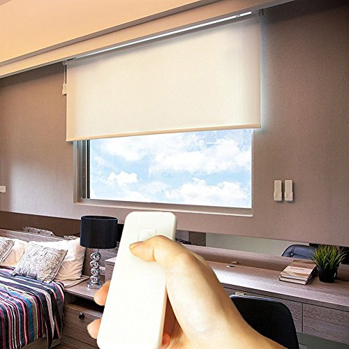 Taiwan Present Godear Design Cordless Roller Window Shades, Motorized-Remote, Roller Blinds Sunscreen Blackout - 35' W x 72' H, White