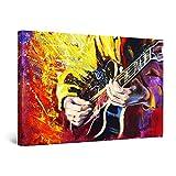 Startonight Cuadro Moderno en Lienzo - Color Chapoteo y Guitarra - Pintura Abstracta para Salon Decoración Grande 80 x 120 cm