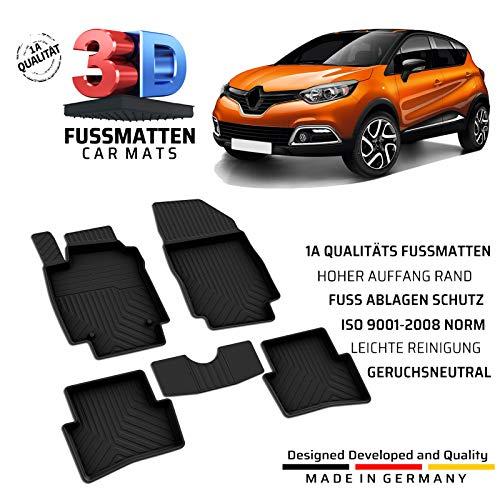 Auto Gummi Fussmatten Passend für Renault Captur (1.Gen) Baujahr 2013-2019