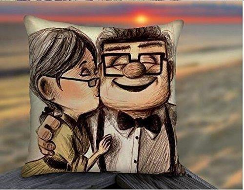were Funck Disney Pixar Carl and Ellie Up Movies,Pillow Case,Pillow Styles,Design Pillow,Retro Pillow,Sofa Pillow,Bedroom Fundas para Almohada 18x18Inch(45cmx45cm)