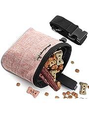 Xinda torba na słodycze dla psa, bez użycia rąk torba treningowa dla szczeniąt z regulowanym paskiem i wbudowanym dozownikiem torby na odpady dla psów, 2 sposoby noszenia torby treningowej dla psów (jasnoróżowa)