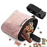Xinda Sac à friandises pour chiot mains libres avec ceinture réglable et distributeur de sacs à déchets pour chien intégré, 2 façons de porter sac d'entraînement pour chien Rose vif