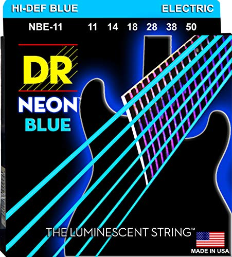 DR Hi-Def Neon Blue Electric Heavy, Strings (NBE11)