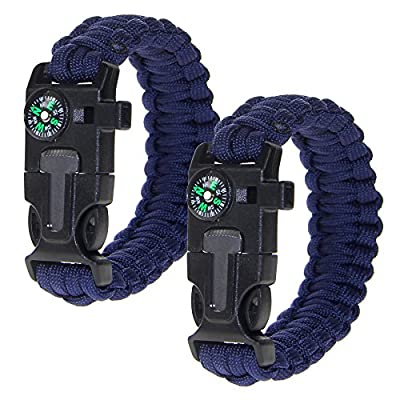 Rockpapa Outdoor Survival Paracord Bracelet with Compass Fire Starter Stainless Scraper and Whistle, 7-Strand Parachute Cord for Hiking Camping Emergency (Pack of 2)