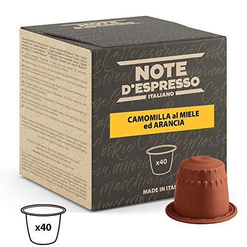 Note D\'Espresso - Cápsulas de manzanilla con miel y naranja, 6g (caja de 40 unidades) Exclusivamente Compatible con cafeteras Nespresso*