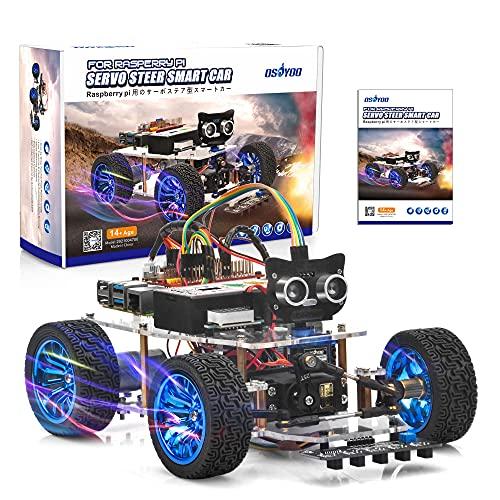 OSOYOO Servo Steering Robot Smart Car para Raspberry Pi | Compatible con Pi4 Modelo B 3B+ 3B 2B | Kit de bricolaje multifunción electrónico para niños y adultos | Programación de aprendizaje Python