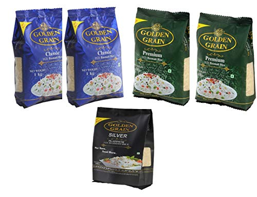 Golden Grain Premium 1121 Basmati Rice 2 x 1Kg + Golden Grain Classic Basmati Rice 2 x 1Kg + Golden Grain Silver Platinum Basmati Rice 1 x 1Kg