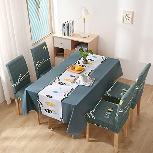 XXDD Mantel Impermeable Mantel y Cubierta de Silla Combinación Mantel de Restaurante Hotel Hogar Cocina Decoración A16 140x160cm