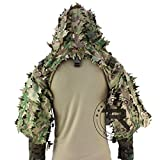 XHBL ROCOTACTICAL Tactical Ghillie Suit Breathable Ghillie Viper Hood with 3D Leafy Stripes Sniper Coat for Wargame, Hunting, CS (Color : CP Multicam, Size : One Size)
