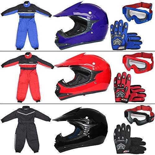guanti per motocross Leopard LEO-X15 Nero Casco da Motocross per Bambini + Occhiali + Guanti + Tuta da Motocross per Bambini