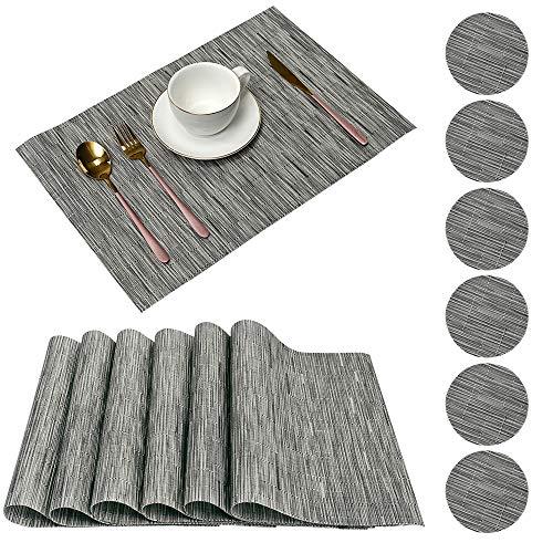 Pesonlook - 12manteles individuales de PVC resistentes al calor, manteles individuales de vinilo tejido, antideslizantes, para mesa y juegos de posavasos para mesa de comedor(6manteles+6posavasos)