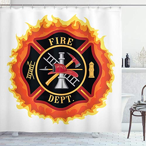 MMPTn Feuerwehrmann Duschvorhang, Feuerwehr Feuerwehrmann mit Leiter Feuerwehrmann 71x71Zoll wasserdichtes Gewebe einschließlich zwölf Kunststoffhaken