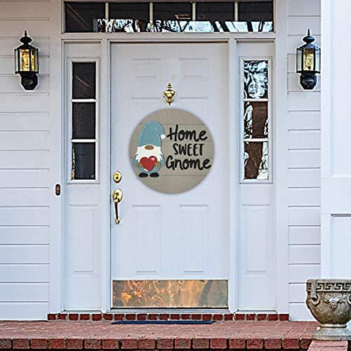 Gnomo - Colgador de puerta de temporada con piezas intercambiables para puerta delantera, porche colgante hecho a mano, paneles de puerta, regalos para Navidad, Pascua (Home Sweet)