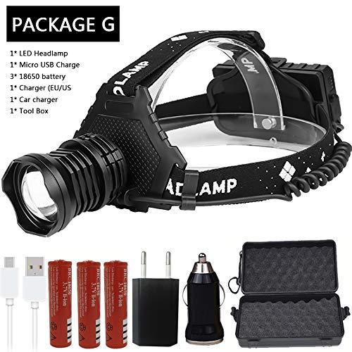AAJTCT koplamp-LED-koplamp voor de sterkste 32 W Xhp70 Xhp50 lamp, Zoom Bank, 7800 mAh 18650 batterij + Z90 voor kamperen, wandelen, buitengebruik