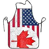 Myrdora Canada US Amicizia Bandiera COMBINAZIONE Donna Uomo Cucina Bavaglino Grembiule Cafe Negozio di Manicure con Collo regolabile Grembiule da Cuoco